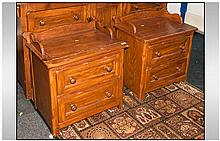 Pair of Pickled Pine Miniature Chest of Drawers, With Splash Backs to the Front and Sides, Below Two Drawers. Size - 25 Inches Width, 22 Inches HIgh and 18 Inches Depth.