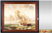Maritime Painting, Signed E. Ponthier ' Ships at Sea ' Rough Water, Oil on Board. Signed and Framed. 19.5 x 23.5 Inches.