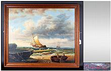 Maritime Painting, Signed E. Ponthier ' Ships of The Coast ' Oil on Board, Signed and Framed. 19.5 x 23.5 Inches.