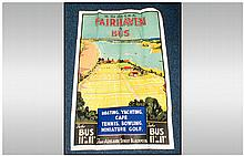 Early To Mid 20thC Travel Poster, Lytham St Annes Express 'The Fair Lake By The Sea Fairhaven By Bus' Artwork By J H Blakeley. 40x25 Inches. Heavily Creased