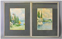 withdrawn  E.Boni Pair Of Italian Lake Scenes, watercolour, Both Signed. 10.5x7.25'' mounted & framed