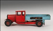 Triang Model Tipper Truck, painted red and blue.
