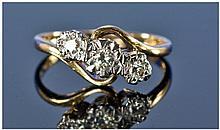 18ct Gold Set Three Stone Diamond Twist Ring,