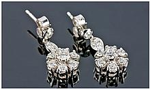 Pair Of 18ct White Gold Diamond Drop Earrings,