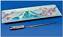 Japanese White Metal & Enamel Dressing Table Tray