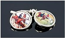 Pair Of Gents Of Silver Cufflinks, The Fronts With