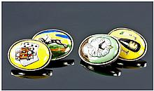 Gaming Interest, Gents Set Of Silver Cufflinks, Of