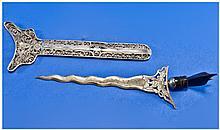 Eastern Silver Miniature Wavy Kris in Scabbard,