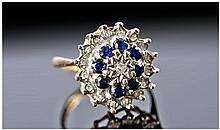 Ladies 9 Carat Gold Set Diamond and Sapphire