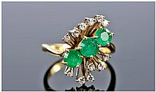 18ct Gold Diamond & Emerald Cluster Ring, the 3