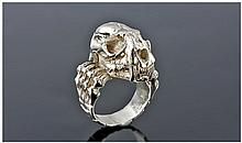 Silver Skull Ring With Hinged Jaw, Stamped 925,