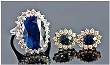 18ct White Gold Set Sapphire & Diamond Cluster