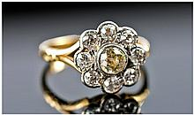 Art Deco 18 Carat Gold Set Diamond Cluster Ring,