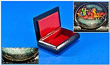 Russian Black Lacquered Hinged Box, The Hinged Lid