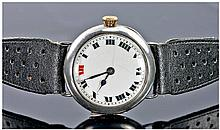 Buren Trench Wristwatch, White Enamelled Dial With