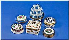 Collection Of 6 Porcelein Pill Boxes, All With
