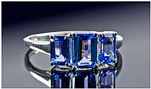 Tanzanite Octagon Trilogy Ring, 1ct octagon cut
