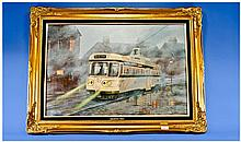 Keith Sutton 1924-1991. Coronation Tram on a Wet