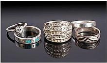 Collection Of Five Silver Dress Rings.
