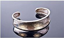 Plain Broad Concave Silver Bangle, Fully