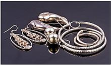 Six Pairs Of Silver Earrings, Various Designs.