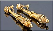 High Victorian Pair of Gold Drop Earrings with