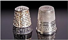 Two Greek Silver Thimbles. Both with Greek Key