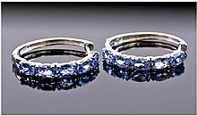 Tanzanite Pair of Hoop Earrings, Full Circle