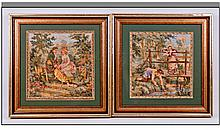 Pair Of French Tapestry Pictures, depicting lovers