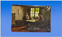 19th Century Dutch Interior Oil On Canvas,