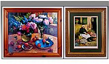A Large Framed Floral Print, in pine frame. 34 x
