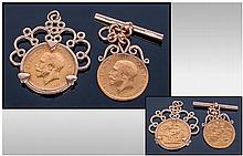 A Pair Of George V 22ct Gold Full Sovereigns, good