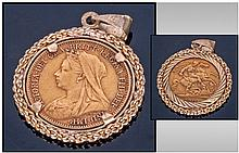 Victorian 22ct Gold Half Sovereign, set in a 9ct