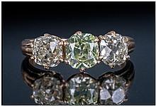 Ladies 18ct Gold Set Three Stone Diamond Ring, set