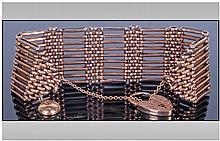 Antique 9ct Gold Nine Bar Gate Bracelet with