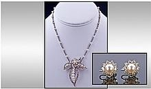 18ct White Gold Set Diamond and Pearl