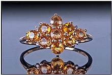 Ladies 9ct Gold Dress Ring, Set With A Cluster Of
