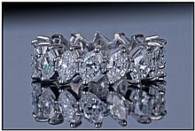 18ct White Gold Diamond Ring, Set with 16 Oval Cut