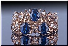 Ladies 14ct Gold Diamond And Sapphire Dress Ring,
