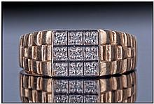Gents 9ct Gold Diamond Signet Ring, Set With 9