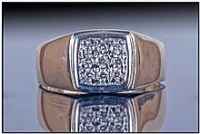 Gents 9ct Gold Signet Ring, Set With 9 Round