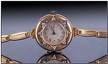 Swiss Art Deco 18ct Gold Diamond And Sapphire Set