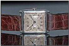 Gents Art Deco Silver Cased Rolex Watch. Champagne