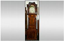 Victorian Longcase Clock, painted dial with seconds and calendar aperture.