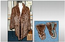 Ladies Three Quarter Length Dark Brown Musquash Coat fully lined. Together