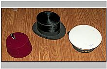 Three Vintage Hats including HMS Sailors Hat, Fez and Mole Skin Top Hat by