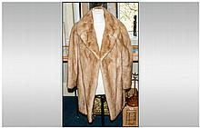 Ladies Light Brown Three Quarter Length Mink Coat, collar with revers, full