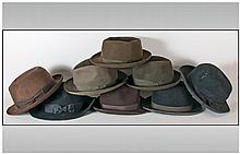 Four Gents Bowler Hats,Trilby's, Stetsons etc. All dark green including Fai