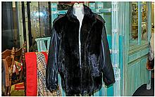 Black Mink Gilet Style Jacket, with leather sleeves & Epaulettes. Fully Lin