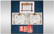 Three 1920's Railway Exam Certificates, Lancashire & Yorkshire Railway & Lo